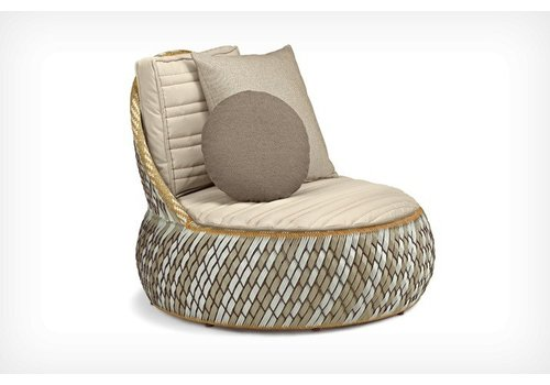 DEDON DALA LOUNGE CHAIR IN COLOR STONE WITH BACK AND SEAT CUSHIONS