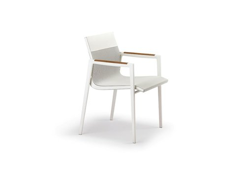 DEDON DEAN ARMCHAIR - PEARL GREY AND WHITE