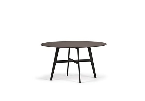 DEDON SEAX 55 DINING TABLE WITH BLACK BASE AND EBONY TABLE TOP