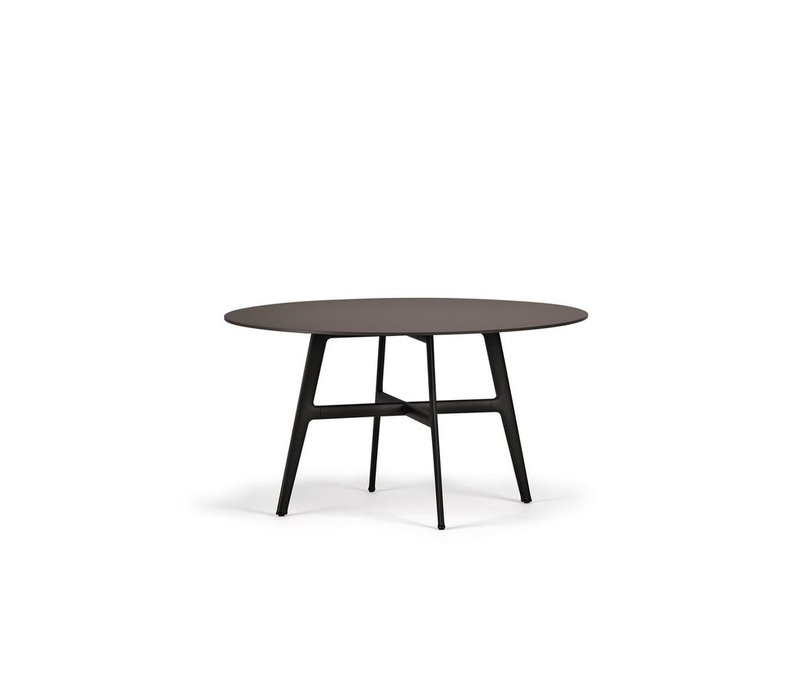 SEAX 55 INCH ROUND DINING TABLE WITH BLACK BASE AND EBONY TOP