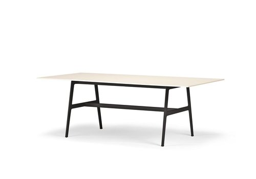 DEDON SEAX 39 X 86.5 DINING TABLE -  WHITE TABLETOP/BLACK FRAME
