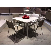 WA 39x39 DINING TABLE WITH WHITE BASE AND WHITE HPL TOP