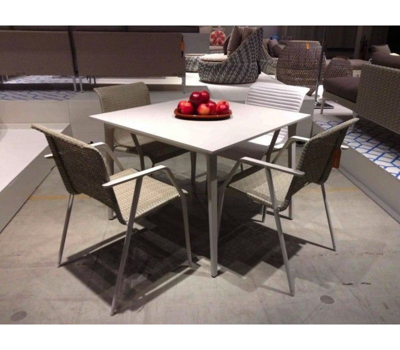 WA DINING TABLE WITH WHITE BASE AND WHITE HPL TOP