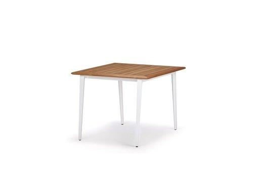 DEDON WA DINING TABLE 39X39 WITH WHITE BASE / TEAK TOP