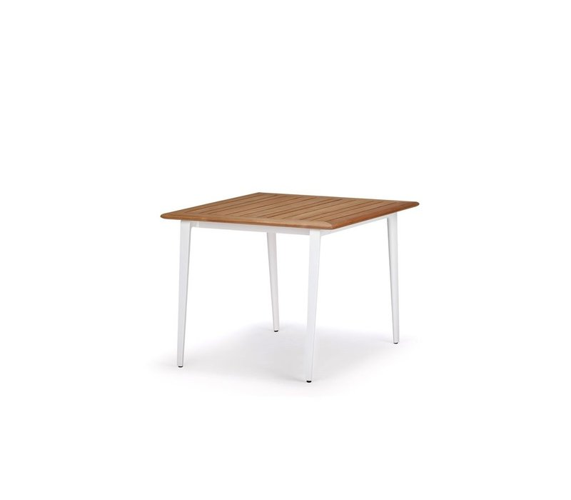WA DINING TABLE 39X39 WITH WHITE BASE / TEAK TOP