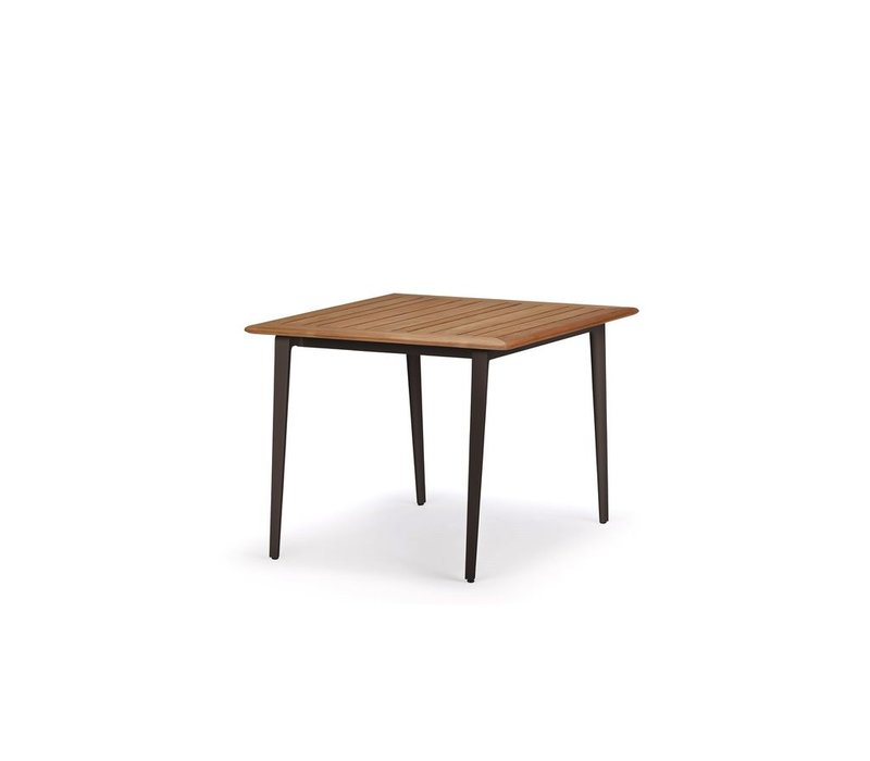WA 39x39 DINING TABLE WITH WHITE BASE / TEAK TOP