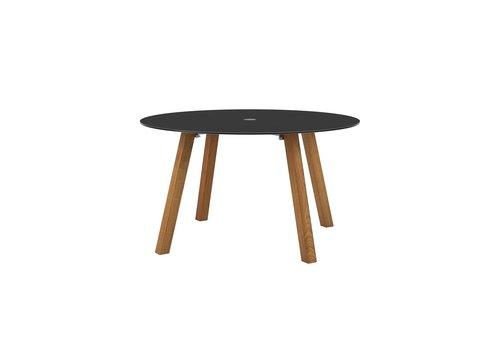 "ROYAL BOTANIA DISCUS TABLE - 51"" ROUND - LEGS ALUMINUM ANTHRACITE -TABLETOP TEAK"