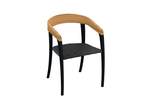 ROYAL BOTANIA JIVE DINING CHAIR - BLACK COATED ALUMINUM - TEAK BACK - OLEFIN FIBER SEAT