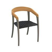 JIVE DINING CHAIR - BLACK COATED ALUMINUM - TEAK BACK - OLEFIN FIBER SEAT