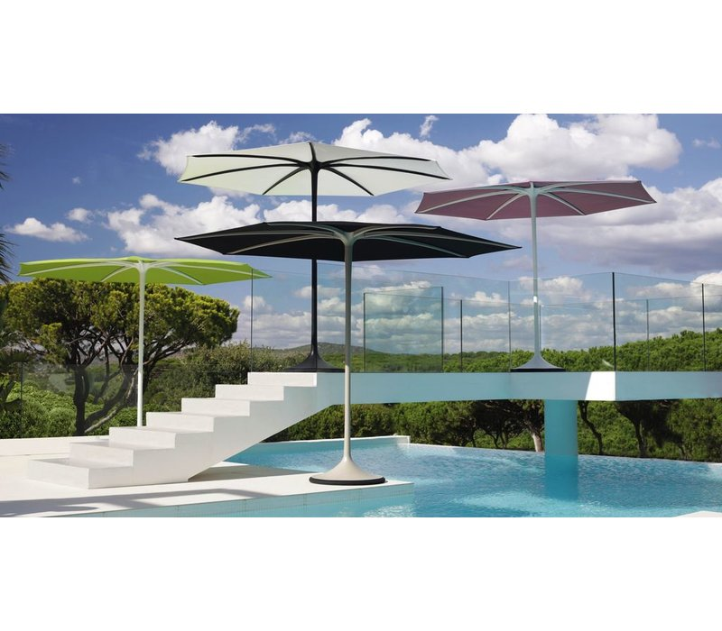 PALMA UMBRELLA - WHITE COATED ALUMINUM FRAME - AQUA COLOR COVER
