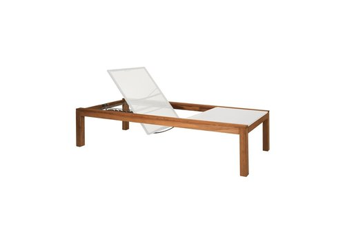 ROYAL BOTANIA XQI 195 RECLINEABLE TEAK LOUNGER WITH WHITE BATYLINE