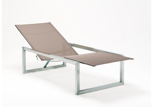 ROYAL BOTANIA NINIX CHAISE IN EP STAINLESS STEEL AND CAPPUCINO COLOR BATYLINE