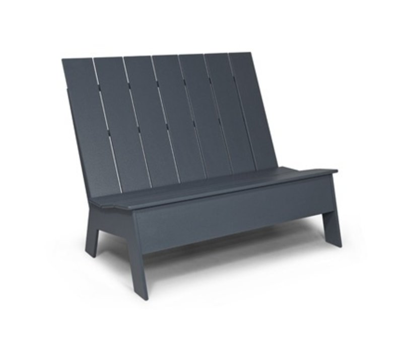 PICKET HIGH BACK DOUBLE BENCH GREY