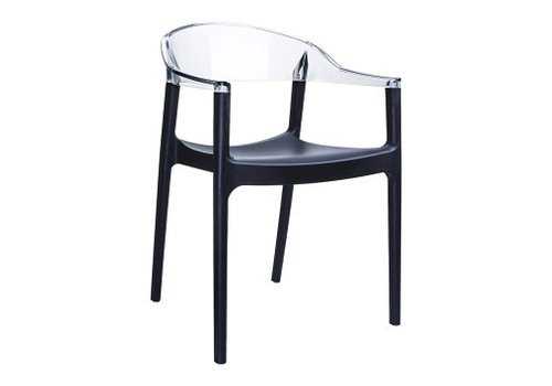 SIESTA CARMEN DINING CHAIR BLACK FRAME AND TRANSPARENT CLEAR BACK AND ARMREST