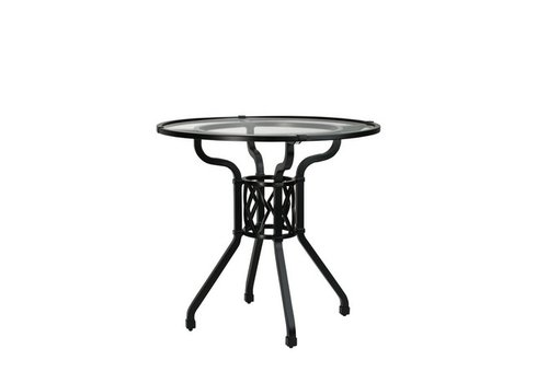 BROWN JORDAN VENETIAN 30 INCH ROUND PEDESTAL DINING TABLE WITH GLASS TOP