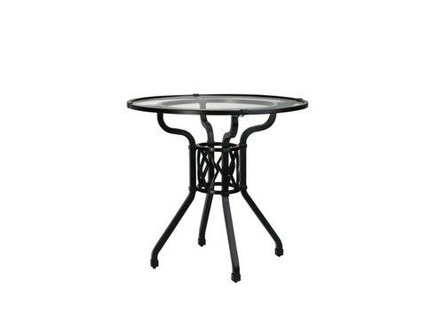 BROWN JORDAN VENETIAN 30‰Û ROUND PEDESTAL DINING TABLE W/ GLASS TOP