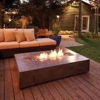 FLO BIOETHANOL FIRE TABLE IN RUST COLOR