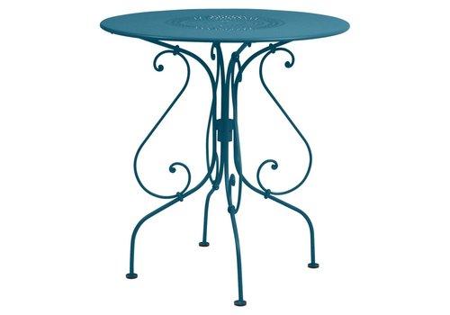 FERMOB 1900 26 INCH ROUND PEDESTAL TABLE, POWDER COATED STEEL