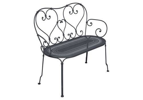 FERMOB 1900 BENCH WITH PERFORATED SEAT, POWDER COATED STEEL