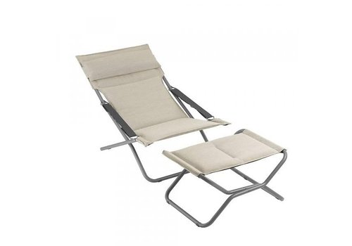 LAFUMA TRANSABED FOLDING LOUNGER DECKCHAIR / LATTE