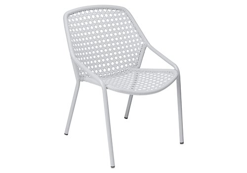 FERMOB CROISETTE STACKING ARMCHAIR WITH POWDER COATED ALUMINUM FRAME AND SYNTHETIC WOVEN SEAT
