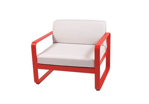 FERMOB BELLEVIE LOW LOUNGE ARMCHAIR WITH OTF FABRIC AND POWDER COATED ALUMINUM FRAME