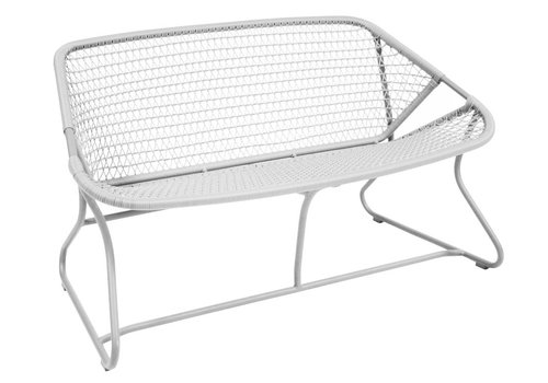 FERMOB SIXTIES BENCH WITH POWDER COATED ALUMINUM FRAME AND SYNTHETIC WOVEN SEAT, COTTON WHITE COLOR