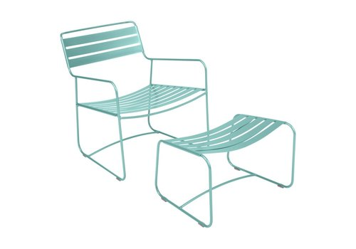 FERMOB SURPRISING LOUNGE CHAIR AND OTTOMAN, POWDER COATED STEEL