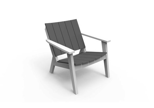 SEASIDE CASUAL MAD FUSION CHAT CHAIR - WHITE  FRAME W/ CHARCOAL SEAT AND BACK SLATS