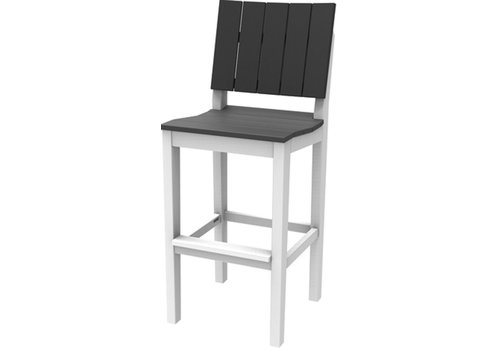 SEASIDE CASUAL MAD FUSION ARMLESS BAR CHAIR / WHITE FRAME AND CHARCOAL SEAT AND BACK SLATS