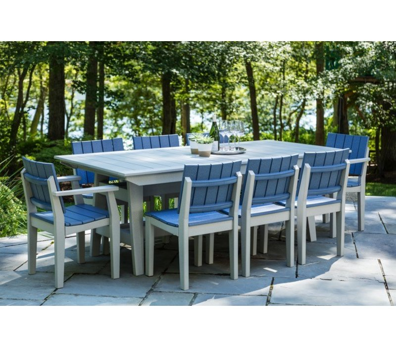 Mad Fusion Dining Side Chair Gray Frame Navy Slats With Seaside Outdoor Furniture