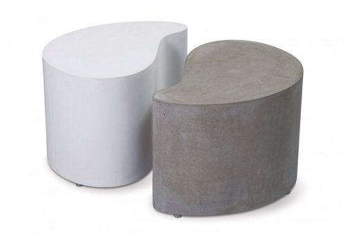 SEASONAL LIVING PAIRED ACCENT TABLES - ONE WHITE/ONE GRAY