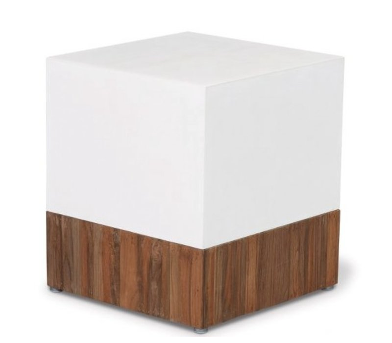 MAGIC CUBE WITH RECLAIMED TEAK BASE/IVORY WHITE TOP