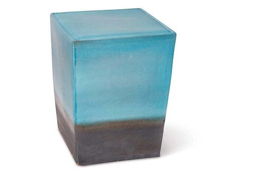 SEASONAL LIVING TWO GLAZE SQUARE CUBE - AQUAMARINE TOP / METALIC BASE