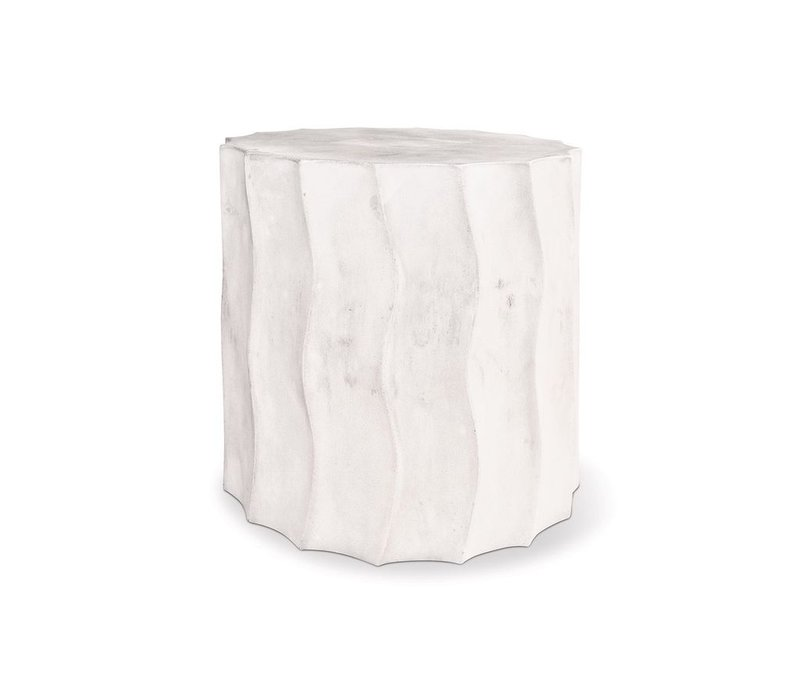 SEASONAL LIVING WAVE ACCENT TABLE SHORT IVORY WHITE