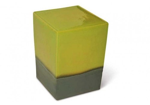 SEASONAL LIVING TWO GLAZE SQUARE CUBE- APPLE GREEN TOP / METALLIC BASE