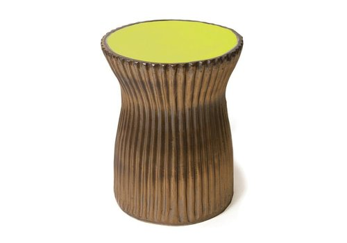 SEASONAL LIVING TWO GLAZE RIDGED STOOL- APPLE GREEN/METALLIC SIDES
