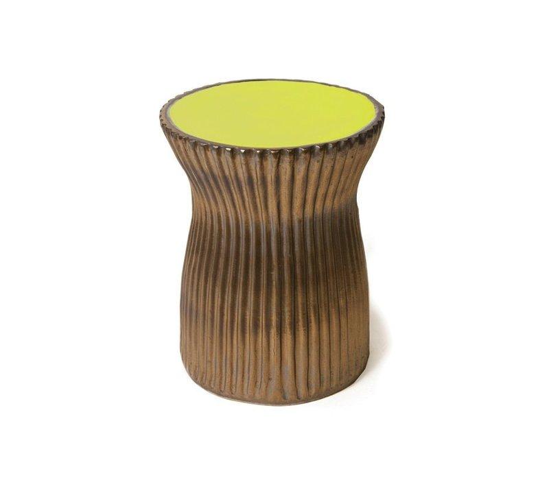 TWO GLAZE RIDGED STOOL- APPLE GREEN/METALLIC SIDES