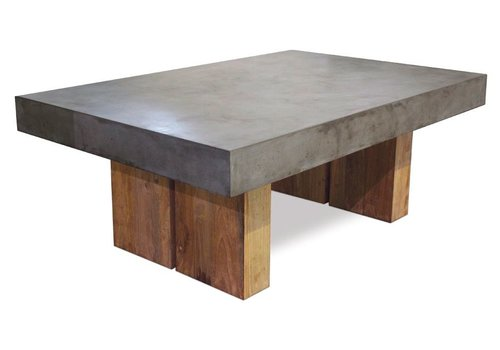 SEASONAL LIVING SAMOS GREY COFFEE TABLE WITH RECLAIMED TEAK BASES