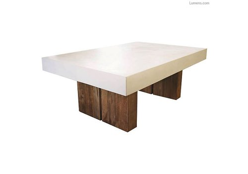 SEASONAL LIVING SAMOS WHITE COFFEE TABLE WITH RECLAIMED TEAK BASES