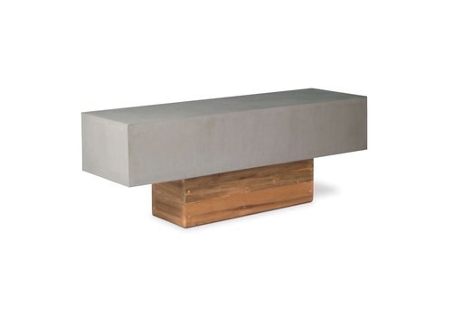 SEASONAL LIVING PERPETUAL URBAN BENCH WITH SLATE GRAY TOP AND RECLAIMED TEAK BASE