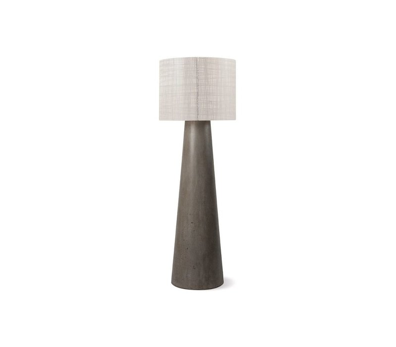 INDA CORDLESS OUTDOOR LED FLOOR LAMP / GRAY WITH WEAVE SHADE