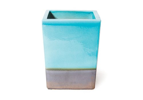 SEASONAL LIVING CERAMIC CUBE PLANTER - TURQUOISE TOP / METALLIC BASE