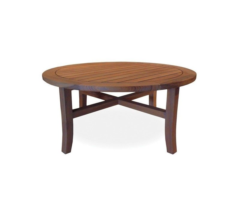 TEAK 40 INCH ROUND COCKTAIL TABLE TAPERED LEG