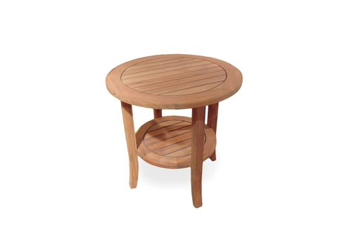 LLOYD FLANDERS TEAK 24 INCH ROUND END TABLE WITH TAPERED LEG