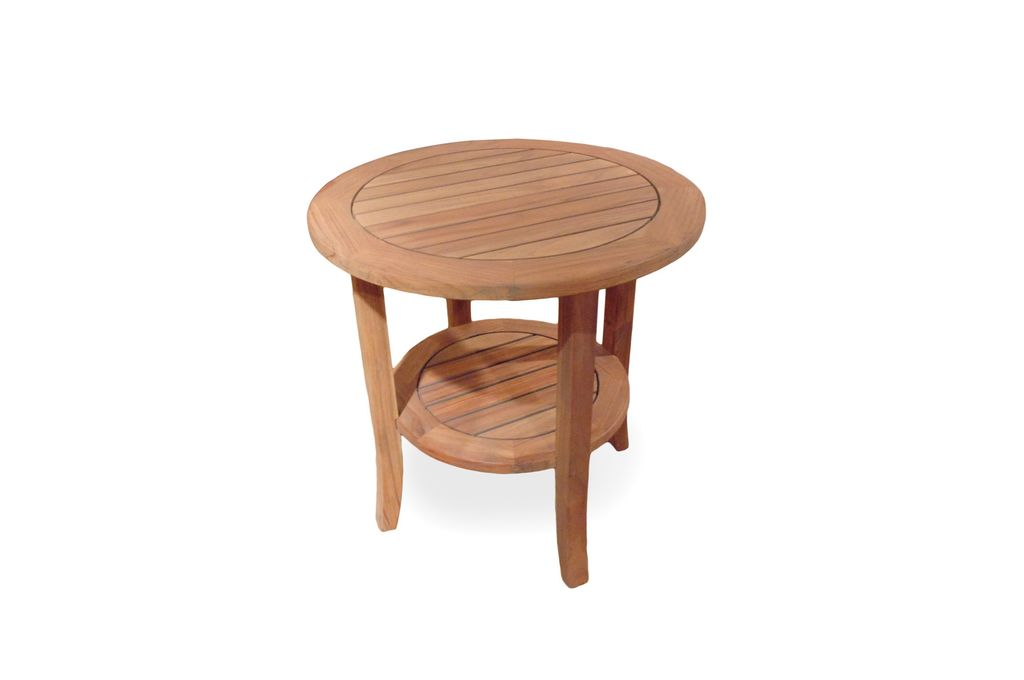 Teak 24 Inch Round End Table With Tapered Leg