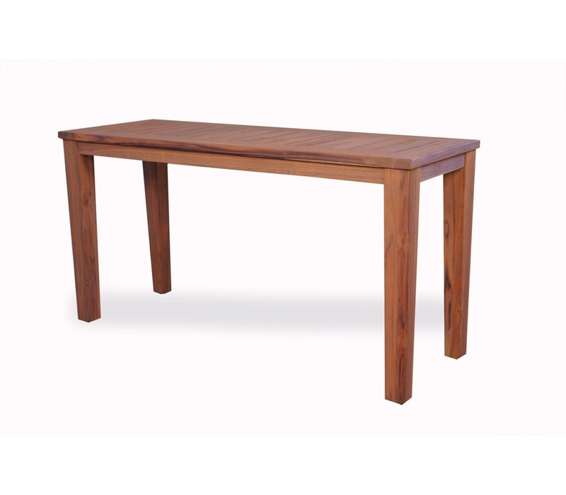 TEAK 58x20 CONSOLE TABLE WITH TAPERED LEG - ANTIQUED FINISH