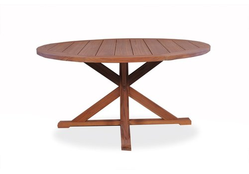 LLOYD FLANDERS TEAK 60 INCH ROUND DINING TABLE WITH CROSS BASE
