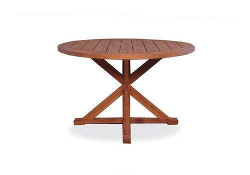 LLOYD FLANDERS 48 INCH ROUND TRESTLE BASE DINING TABLE