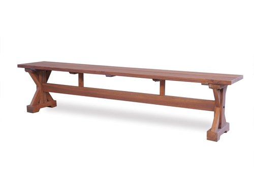 LLOYD FLANDERS TEAK 79x14 BENCH WITH TRESTLE BASE